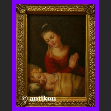 Religijny obraz olejny Cudna Madonna z Dzieciątkiem