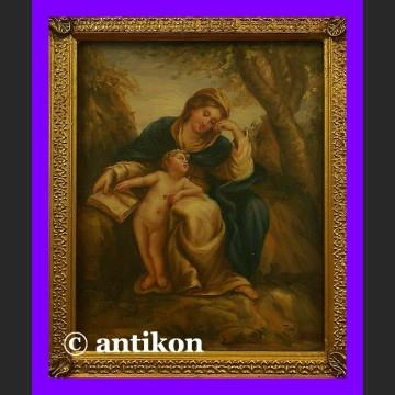 Obraz olejny w złoconej ramie Madonna z książką świetny