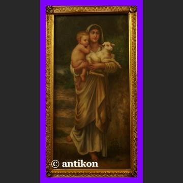 Obraz olejny Madonna z Jezusem i jagnięciem