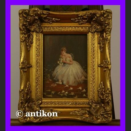 Baletnica z kwiatami przepiękny obraz złocona rama