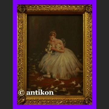 Obraz olejny w ramie Baletnica z kwiatami