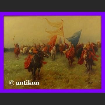 Obraz olejny w pięknej ramie Bogurodzica wielka bitwa