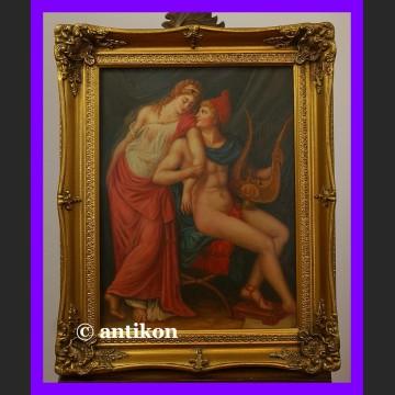 Apollo i muza piękny duży obraz w złoconej ramie