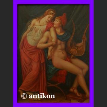 Obraz olejny Apollo i muza piękny w złoconej ramie