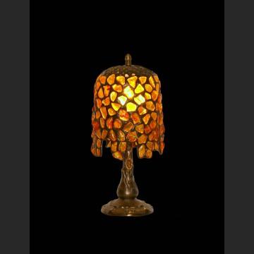 Śliczna lampka gabinetowa z bursztynami