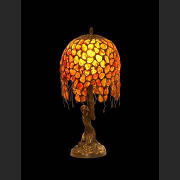 Lampa z figurą kobiety wspaniały naturalny bursztyn