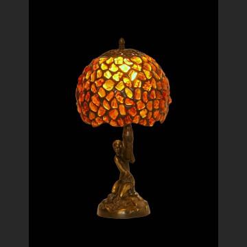 Figuralna lampa cudny bursztynowy klosz