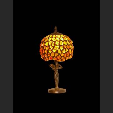 Świetna lampka do gabinetu piękny naturalny bursztyn