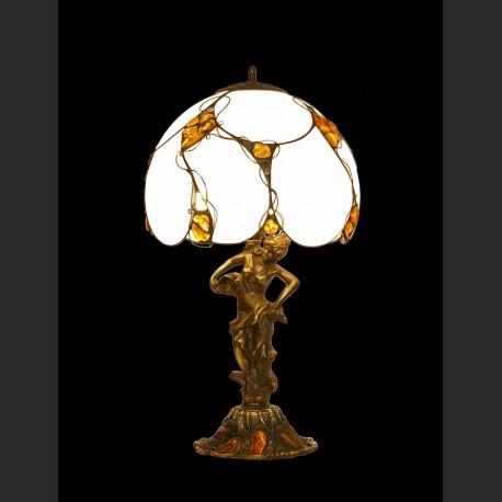 Duża lampa z nimfą znakomity bałtycki bursztyn