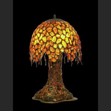 Duża lampa wspaniałe drzewo cała z bursztynu