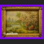 Wiosna w sadzie klasyczny obraz olej złocona rama