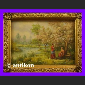 Obraz olej złocona rama Wiosna w sadzie klasyczny