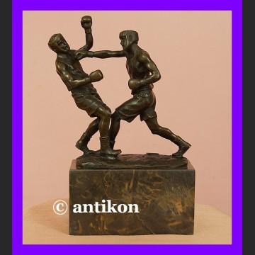 Walczący pięściarze boks rzeźba świetny brąz