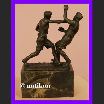 Pięściarze boks świetna rzeźba brąz walczący bokserzy