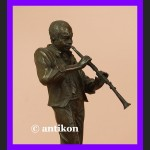 Unikatowa rzeźba klarnecista sygn. brąz art deco