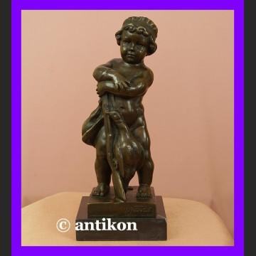 Chłopczyk z gęsiami sygnowany brąz urocza rzeźba