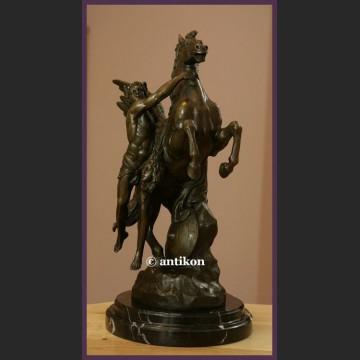 Pegaz i Perseusz prawdziwy brąz wielka sygnowana rzeźba cudo