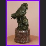 Dwie sowy symbol mądrości cudna rzeźba sowa brąz