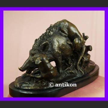 Wspaniały dzik duża rzeźba sygnowany brąz polowanie łowiectwo