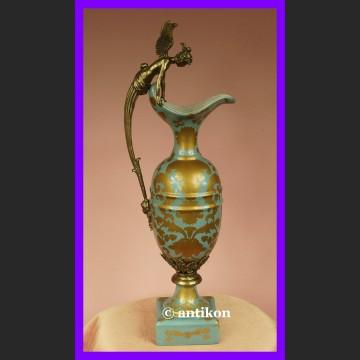 Prześliczny dzban z aniołem z brązu syg. porcelana