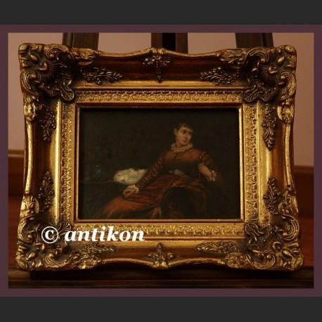 Piękna dama w czerwieni obraz olejny na desce