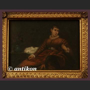 Obraz olejny na desce piękna dama w czerwieni