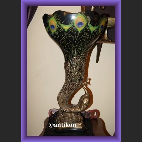 Olbrzymi porcelanowy wazon prześliczny paw