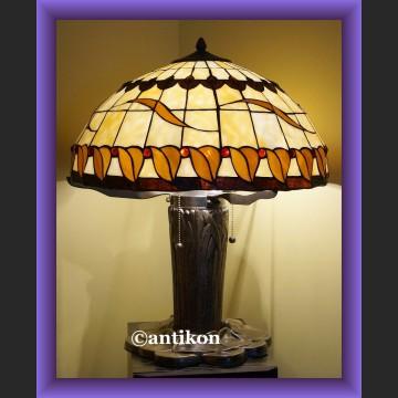 Wspaniała olbrzymia witrażowa lampa Tiffany motyw liści