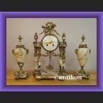 Zegar kominkowy  portykowy marmurowy z przystawkami Francja