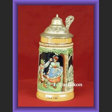 Fantasyczny ceramiczny kufel z cynową pokrywą