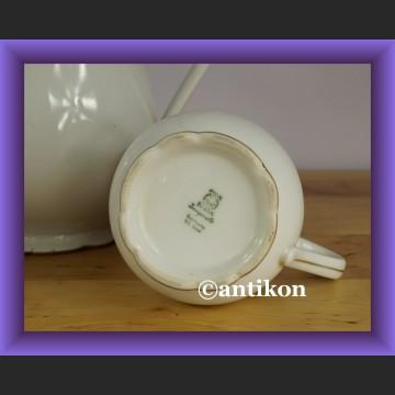 Śliczny trójelementowy komplet do kawy czy herbaty stara sygnowana porcelana