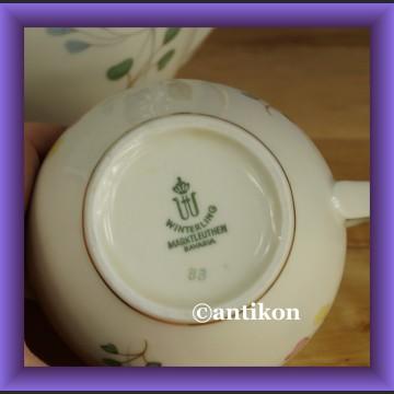 Uroczy garnitur do herbaty czy kawy świetna sygnowana stara porcelana ecru