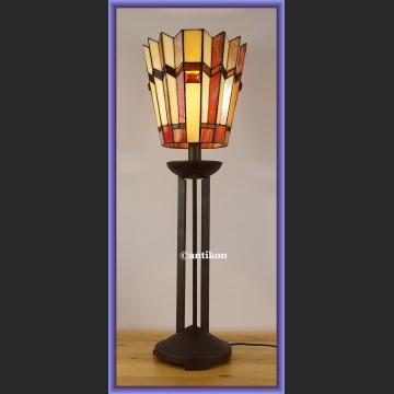 Śliczna wysoka witrażowa lampa Tiffany art deco