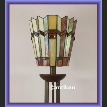 Świetna wysoka witrażowa lampa Tiffany art deco