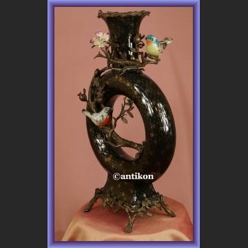 Wazon pałacowy z ptaszkami bardzo duży porcelana z lilijką