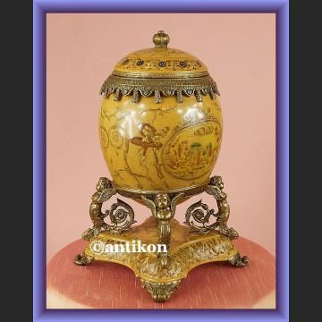 Jajo porcelanowa szkatuła z brązem bardzo duża