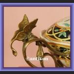 Piękna waza duża secesyjna patera ręcznie malowana porcelana okuta w brąz