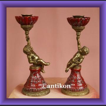 2 świeczniki barokowe komplet piękny świecznik z amorkiem
