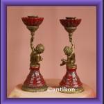 2 świeczniki barokowy komplet piękny świecznik z amorkiem