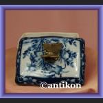 Świetna duża szkatułka kobaltowy wzór puzdro z motylem