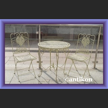 Prowansalskie meble ogrodowe komplet stół i 2 krzesła śliczne metalowe meble do ogrodu, na taras, balkon