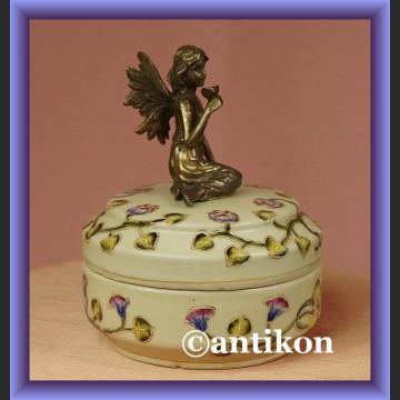 Cudna szkatułka z elfem duże porcelanowe puzderko