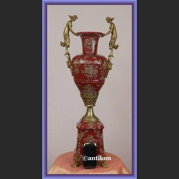 Wazon elegancki puchar duży  porcelana z brązem