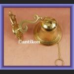 Świetny mosiężny dzwon z łańcuszkiem na wysiegniku