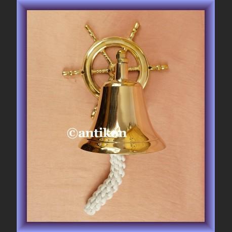 Dzwon jachtowy z kołem sterowym mosiężny