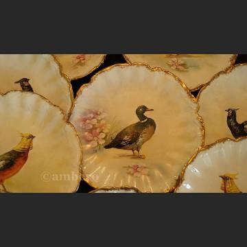 Francuski serwis do dziczyzny ręcznie malowany komplet obiadowy Limoges sygnowany
