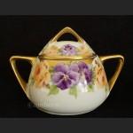 Śliczny garnitur do herbaty Beyer and Bock stara ręcznie malowana porcelana