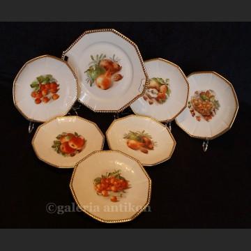 Serwis piękny komplet 6 talerzy i patera serwis z owocami Schumann