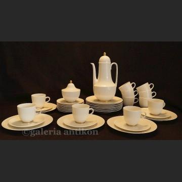 Modernistyczny biały serwis na 10 osób cudna porcelana Hutschenreuther, grupa Rosenthal