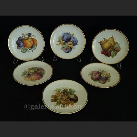 Wspaniały komplet 6 talerzy z owocami 1925 r. Carl Tielsch Altwasser
